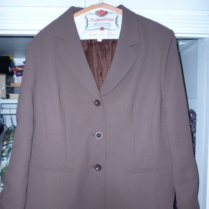 le suit 16P blazer jacket lined dark cocoa brown